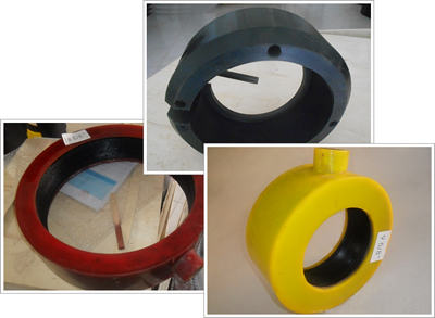 A black quick release thread protector and two dismountable inflatable thread protectors, one is yellow and another is red.